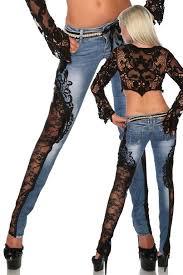 Jeanshose mit Spitze, blau-schwarz | Одежда из переработанных ...