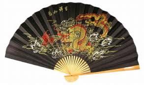 dealing feng shui: classic  oriental feng shui wall fan black dragon