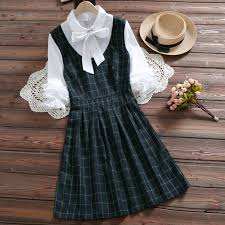 Mori <b>girl</b> cute kawaii plaid <b>dress 2019 spring</b> new arrival preppy style ...