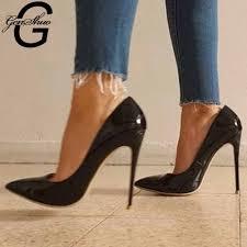 <b>GenShuo High Heels</b> 12cm Black Pumps Silver <b>High Heels</b> ...
