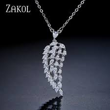 <b>ZAKOL New Arrival Fashion</b> Leaves Cubic Zircon Pendent ...