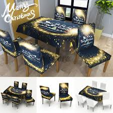 <b>Christmas Waterproof</b> Tablecloth Chair Set Kitchen Dining Table ...