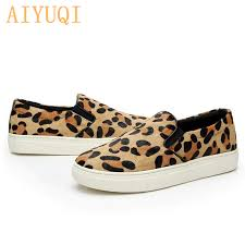 <b>AIYUQI</b> Women flat shoes <b>2019 new genuine</b> leather female leopard ...