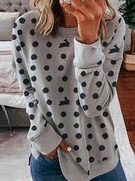 Round Neck Dot Rabbit Print Long Sleeve T-shirt 25470014 ...