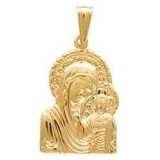 """<b>Подвеска</b>-<b>иконка</b> """"<b>Казанская Богородица"""" из</b> красного золота ..."""