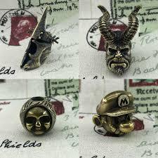1PC Ghost Face Skull Retro <b>Brass Smoking</b> Skull Knife <b>Paracord</b> ...