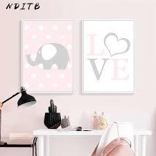 <b>Pink</b> Elephant Star Canvas <b>Children Poster</b> Print Baby Girl Nursery ...