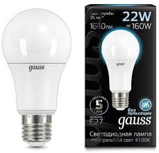 <b>Лампа Gauss LED A70</b> 22W E27 1640lm 4100K
