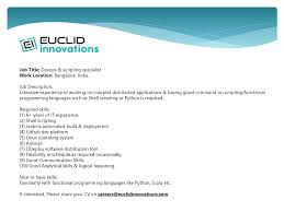 euclid innovations linkedin euclid innovations looking for devops scripting specialist for bangalore location please shoot your resume at careers euclidinnovations com