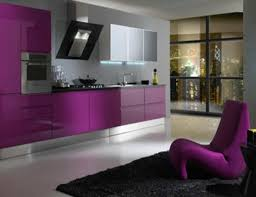 modern kitchen purple color of cabinet with kitchen hoods also black granite countertop also lounge chair also black soft carpet also white ceramic flooring ceramic purple black white
