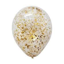 <b>12</b>'' Metallic Confetti <b>Clear Latex Balloon</b> - Gold - Give Fun