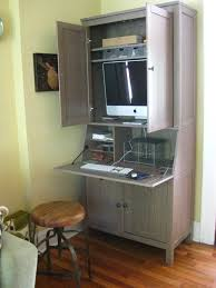 computer armoire with casement and hopper style with big sized computer monitor armoire office
