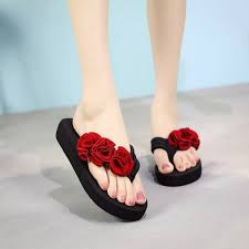 Buy <b>Summer new</b> flower flip flops ladies casual sandals and slippers ...