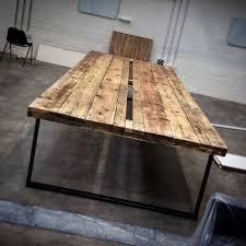reclaimed industrial chic 16 20 seater conference office tablebar and cafe restaurant furniture steel and wood made to measureoffice 401 chic wood office desk