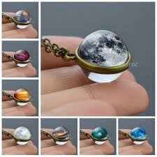 <b>Full Moon Sphere</b> Crystal Ball Glass Necklace Handmade Double ...