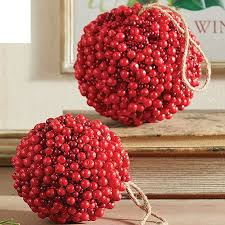"Raz 4.5"" or 5"" Red <b>Berry</b> Ball <b>Christmas Ornament</b> 