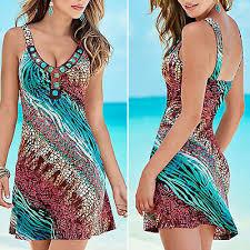 Boho Hippie <b>Women Summer Beach Short</b> Mini Swing Dress ...