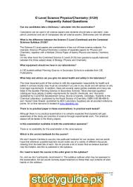 O Level Science Physics Chemistry        studylib net O Level Science Physics Chemistry        Frequently Asked Questions
