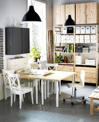 charming white brown wood glass modern design home office space looking table chairs windows pendant lamp charming cool office design
