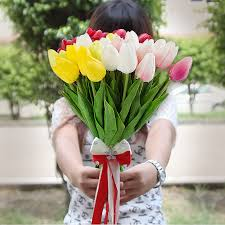 Plastic real touch <b>artificial flowers tulips 10pcs</b>/<b>Lot</b> for decoration ...
