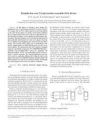 (PDF) <b>Portable</b> Low Cost 3 Lead <b>Wireless Wearable ECG</b> Device