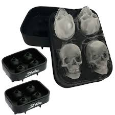 Stritra - <b>3D Skull</b> Ice Mold (Pack of 2) Easy Release <b>Silicone Mold</b>,8 ...
