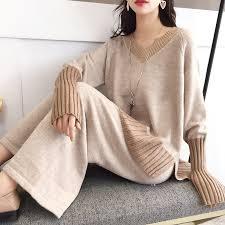 2019 Winter <b>Autumn</b> New Women 2 Pieces Pants <b>Suits</b> Knitted <b>V</b> ...