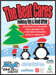 british columbia division christmas page  vancouver s number 1 hit radio station the beat 94 5 is presenting their annual beat cares holiday toy and food drive on friday 10th
