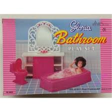 miniature furniture pink bathroom set for barbie doll house pretend play toys for girl free shipping barbie dollhouse furniture cheap