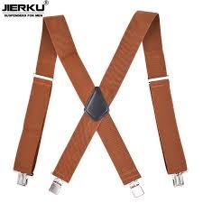 JIERKU <b>Suspenders Man's</b> Braces <b>4 Clips</b> Suspensorio Trousers ...