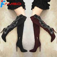 <b>FAMSO</b> 2018 Big Size 34-43 <b>New Women Boots</b> Black red Autumn ...