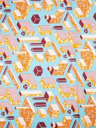 Tribal Print Fabrics Super Deluxe Wax Sky Blue <b>Yellow Geometric</b> ...