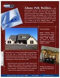 quality web design and graphic design by tp web designs david adams custom homes flyer