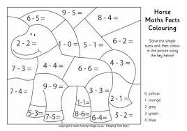 Maths Facts Colouring PagesHorse Maths Facts Colouring Page