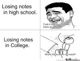 Losing Notes In High School And College by roarshach - Meme Center via Relatably.com