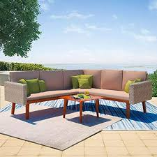 vidaXL 4 Piece Garden Lounge Set with Cushions ... - Amazon.com