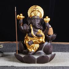 <b>Purple sand</b> Elephant head god Ganesha Backflow Incense Burner ...