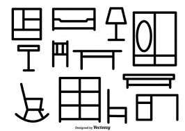 black and white furniture set free vector black and white furniture