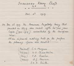 brasenose college library archives page  ingoldsby essay club minute book 1919