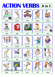 pictionary action verb set from r to t esl worksheets of pictionary action verb set 4 from r to t