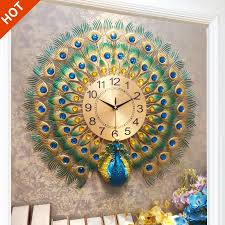 LIWE [HOT <b>SALE</b>] Peacock Wall Clock Home <b>Fashion</b> Decorative ...