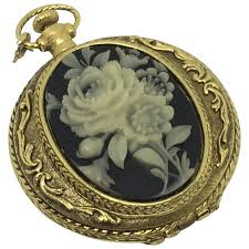 "<b>Max Factor</b> ""Golden <b>Floral</b>"" Compact Pocket Watch style Cameo ..."