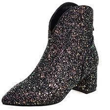 ENMAYER Womens Glitter Material Shoes Square ... - Amazon.com