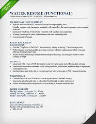 waiter functional resume example restaurant server sample resume