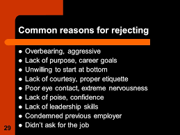 chapter ldquo exploring the interview process rdquo preparing for an 29 29 common reasons for rejecting overbearing aggressive lack of purpose career goals