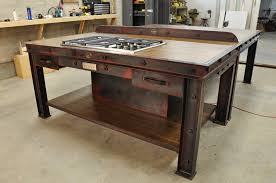 build kitchen island sink: rustic industrial kitchen island design with cooktop and drawers in diy kitchen island ideas
