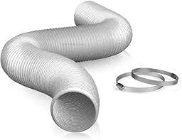 """6"""" Air Duct - 25 FT Long, <b>Aluminum Flexible</b> Ducting with 2 Clamps ..."""
