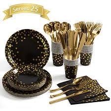 Black and Gold Party Supplies 175 Pieces Golden Dot ... - Amazon.com