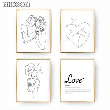 Minimalist <b>Kissing</b> Wall <b>Art</b> Couple <b>Kiss Poster</b> Prints One Line ...