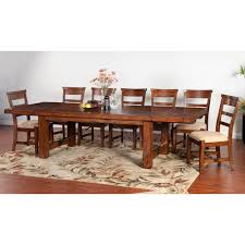 extension table f: sunny designs tuscany distressed mahogany  piece extension table set
